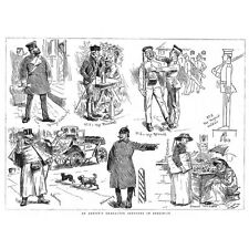 BERLIN Characters; Train Conductor, Peasant, Policeman, Cabman - Old Print 1882