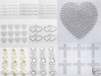 Self Adhesive Sticker Birthday Diamante Heart Cross Rhinestone Glitter Scrapbook