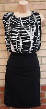 VALERIE BERTINELLI WHITE BLACK ABSTRACT BLOCK PENCIL BODYCON TEA RARE DRESS M L