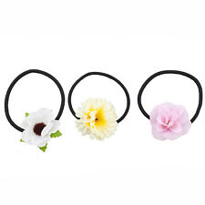 Lux Accessories Fabric Assorted Floral Flower Elastic Pony Tail Holders (3PCS)