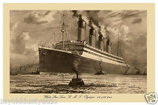 White Star Line RMS Olympic 1930's Poster 11 x 17