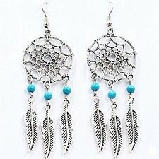 Feather Dream Catcher Mini Turquoise Blue Ear Cartilage Stud Earring Dangle