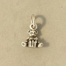 .925 Sterling Silver Tiny TEDDY BEAR & GIFT CHARM Christmas Present NEW 925 HL15