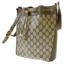 GUCCI GG Supreme Shoulder Bag Brown PVC Leather Italy Vintage Authentic #6522 W