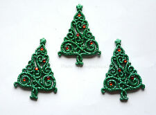 Christmas Elegance / Glitter Christmas Tree Flat Buttons / Dress It Up Holiday