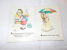 2 Oversized Cute Postcards By Mabel Lucie Attwell -Stamped St.Andrews,Fife 1968