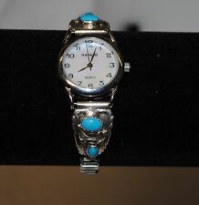 Native American Made Sterling Silver Turquoise Ladies Watch