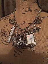 Charm Necklace Silver Chunky Vintage pin up from a Boutique