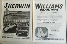 1920 Vintage Sherwin Williams Paint Varnish Factory Illumination Two Page Ad