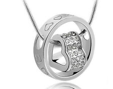 Sterling Silver Swarovski Element Crystal Necklace Ring Chain Pendant Heart P5