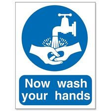 NOW WASH YOUR HANDS SIGN SELF ADHESIVE 150x200mm