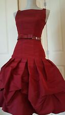 STUNNING OSCAR DE LA RENTA PURE SILK RED BUBBLE GOWN DRESS RUNWAY  S. US 6