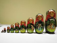 ANTIQUE RUSSIAN NESTING DOLLS SET OF 10 HANDPAINTED SIGNED BY THE ARTIST