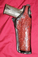 "Colt 1911 Tooled Leather Holster Brown .45 Pistol Gun 5"" Government Thumb Break"