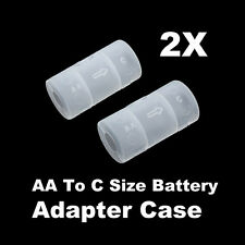 2pcs AA to C Size Battery Holder Converter Conversion Adapter Switcher Case