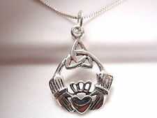 Claddagh Celtic Infinity Necklace 925 Sterling Silver Corona Sun Jewelry round