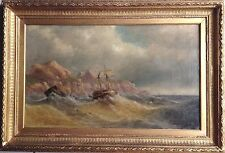 Antique Fine Marine Oil Painting F W Bartholomew British 19 Century Period Frame