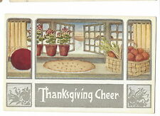 POSTCARD THANKSGIVING - VINTAGE WINSCH - PIE COOLING BY OPEN WINDOW - EMBOSSED