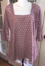 SOLITAIRE Peasant Blouse Women's Plus Size 1X Lace 3/4 Sleeve Crochet Trim Mauve