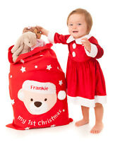 Personalised Handcrafted Baby's First Christmas Gift Bag Santa Present Sack 1st