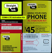 Straight Talk BYOP 4FF Verizon 4G LTE  CDMA Sim Card & Network Code Kit