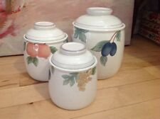 3 PC MIKASA COUNTRY CLASSICS FRUIT PANORAMA DC014 COVERED CANISTERS