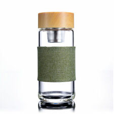 Handmade Glass Water Bottle Sports Water Cup with Tea Infuser Flax Sleeve 400ML