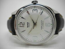 VINTAGE HMT PILOT HAND WINDING GENTS WHITE DIAL PARASHOCK WRIST WATCH RUN ORDER