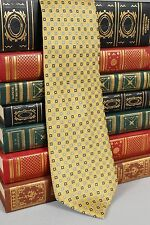 Nautica Mens Silk Neck Tie Yellow Blue Geometric T658