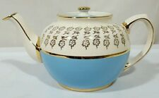 Vintage Sadler Tea Pot Made in England Cream Blue Gold Trim Floral #1