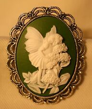 Lacy Rim Lady-Like Silvertone Green & White Fairy Flowers Cameo Brooch Pin