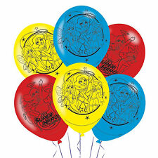 6 DC Super Hero Girls Supergirl Batgirl Children's Party Printed Latex Balloons