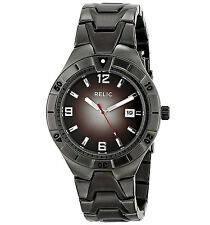 New RELIC by Fossil Mens Black Ion Gunmetal Band Analog Watch Date Dial