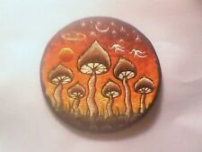 "5"" Round Cotton  sew on badge - Magic Mushrooms Moons Stars Planets Sunset"