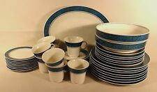 "NORITAKE EXPRESSION RETRO CHINA ""LARKSPUR"" #7048 PAISLEY BAND 1970-77 SET FOR 8+"