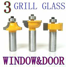 3pc 1/2 Shank Grill Glass Door Round Over & Bead Router Bit Set sct 888