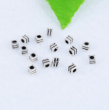100pcs Tibetan Silver Cube Spacer Beads Loose Jewelry Making 3x3mm XZ-28