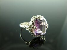 Sterling Silver Antique Style Filigree Ring Natural Amethyst Gemstone 10x8mm Rin
