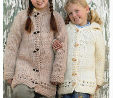 """Knitting Pattern-Childs Super Chunky Hooted coat or round neck coat- fits 20-30"""""""