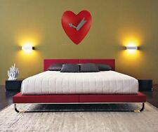 25cm, Bright Red Heart Shaped Wall Clock With Motion/movement Romantic Gift