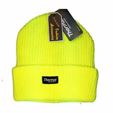 Fluorescent Mens Womens Warm Knitted Fleece Lined Winter Woolly hat Stretchy