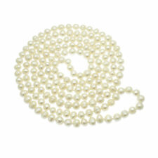 "Long Pearl Necklace White Cultured Freshwater Pearls 54"" String - Rope Length"