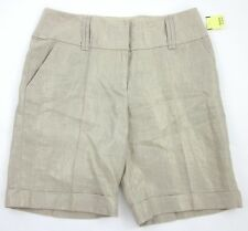 NWT! ETCETERA 'Gleam' Metallic Gold and Khaki Sz. 10 Linen Shorts $155.00