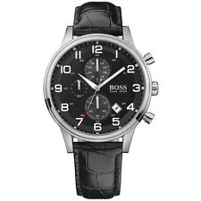 NEW HUGO BOSS MENS BLACK CHRONOGRAPH LEATHER WATCH - 1512448 - RRP £275