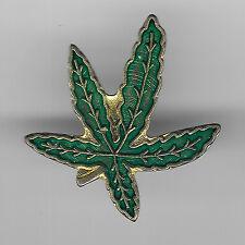 Vintage Pot Leaf Marjuana Plant old Enamel Pin