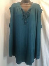 Faded Glory Womens Green Tunic Top Ladies 4X Blouse
