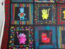 Loralie Fabric: Cool Cats Panel, colorful framed cats cotton sew quilting