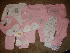 NWT 0-3M GYMBOREE Girls FOREST OWL Pink 7pc Set 2 Outfits Romper Socks Bib Pants