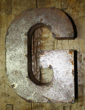 "9"" RUSTIC Reclaimed Metal Industrial LETTER G 2"" thick 3D TIN Sign ARCHITECTURAL"