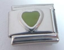 GREEN HEART Italian Charm - August Birthstone LOVE 9mm fits Classic Bracelets